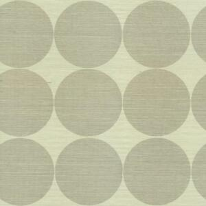 Wallpaper-High-End-Designer-Real-Grasscloth-Modern-Gray-Taupe-Circles-on-Cream