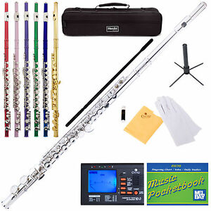 NEW-SILVER-BLUE-GREEN-PURPLE-RED-PINK-STUDENT-C-FLUTE