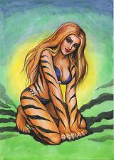 A00484 Tigra by Torres *NOT A PRINT* original art drawing marvel dc comics