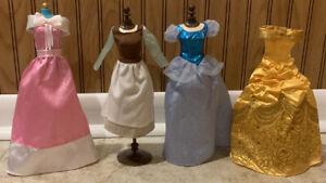 Disney-Princess-Lot-Of-4-Doll-Dresses-Cinderella-Blue-Pink-Peasant-amp-Belle