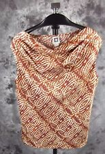 Anne Klein Draped Neck Blouse Large Brown Abstract Print Sleeveless