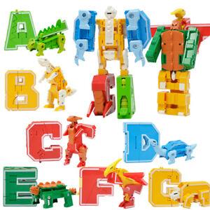 7x Dinosaur Letter Block Transforming Robot Boy Preschool Toy A B C D E F G