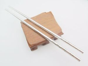 Pure-S925-Sterling-Silver-Chinese-Chopsticks-Bamboo-210mmL