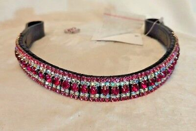 Showing browband bling pink silver pony cob full browband Crystal Show Browbands