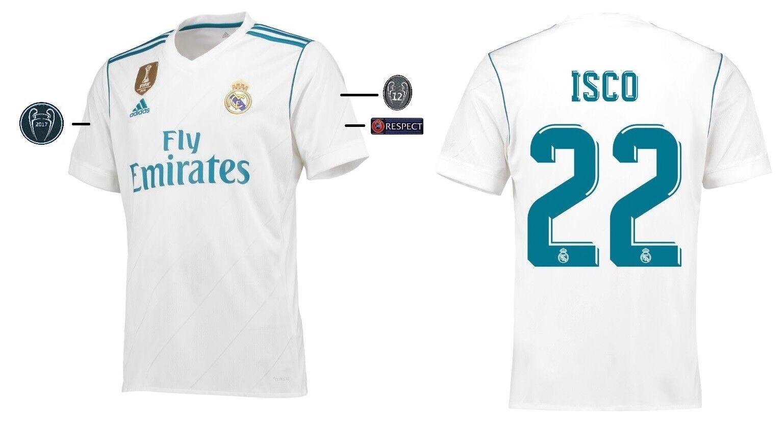 Trikot Adidas Real Madrid 2017-2018 Home UCL - - - Isco 22 73c0e3