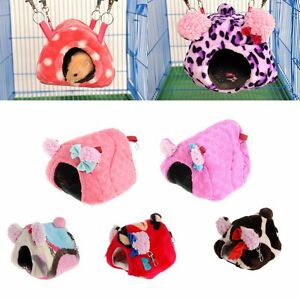 Pequenos-Animal-Mascota-Cama-De-Peluche-Hamster-Casa-Rata-Conejo-Caliente-Colgante-Jaula-nido