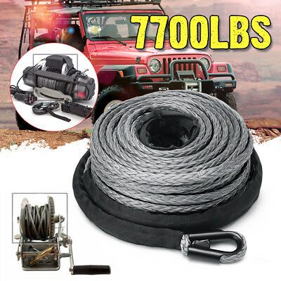 1//4/'/' x 50/' 7700LBs Synthetic Winch Line Cable Rope with Sheath Grey For ATV UTV