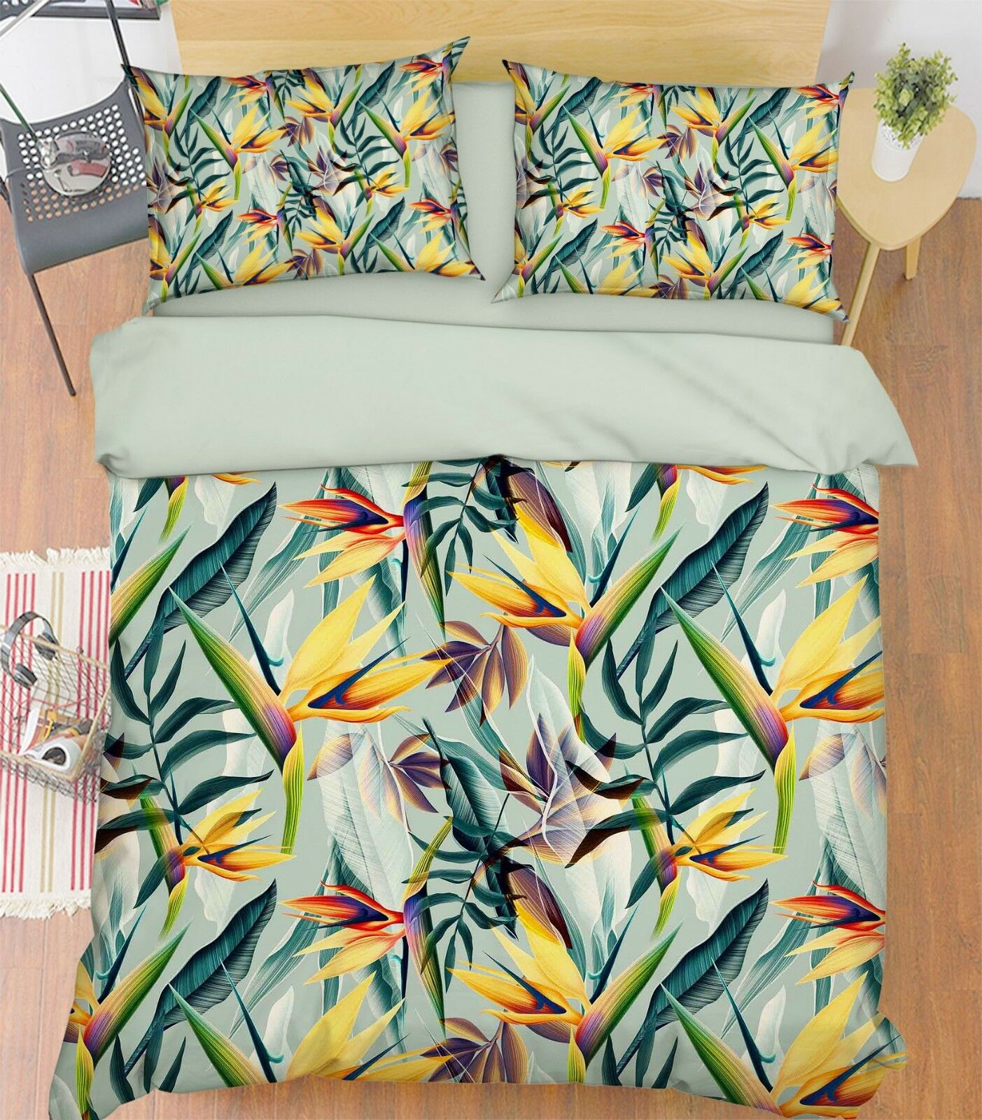 3D Painted Plants 800 Bed Pillowcases Quilt Duvet Cover Set Single Queen King CA