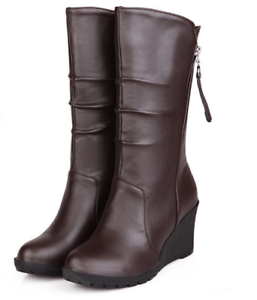 Women-039-s-Winter-boots-Warm-Knee-High-Shoes-Ankle-Boots-PU-Leather-Martin-Boots