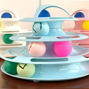 kitty-4-LAYER-TRACK-ROLLER-PLAY-BALL-PUZZLE-TOWER-INTERACTIVE-TOY-PET-SUPPLIES
