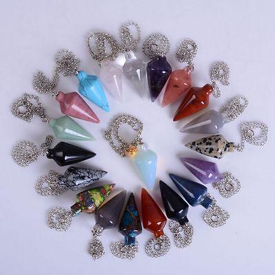 "30mm Gemstone crystal healing point Metaphysical Chakra Reiki pendulum 4""Chain"