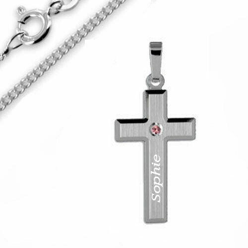 Kreuz Anhänger mit Zirkonia Stein-925er Sterling Silber- Inkl. GRavur & KEtte -1