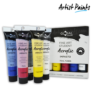 5-x-75ml-STARTER-PAINT-SET-Global-Colours-Student-Fine-Art-Acrylic-Impasto