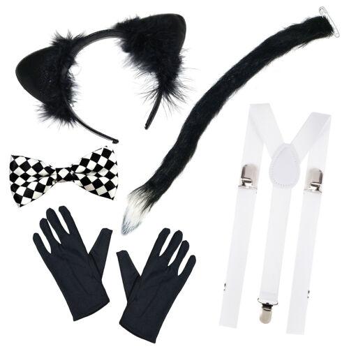 WORLD BOOK DAY Ears, Tail, Bow Tie, Braces, Gloves Cat Fancy Dress Costume