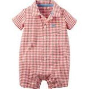 8324593e4 NWT Carter's Baby Boy's GINGHAM Plaid Checkered ROMPER NWT | eBay