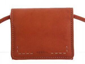 Fossil-Womens-Leather-Wallet-Crossbody-Purse-Shoulder-Bag-Strap-Adjust-Orange