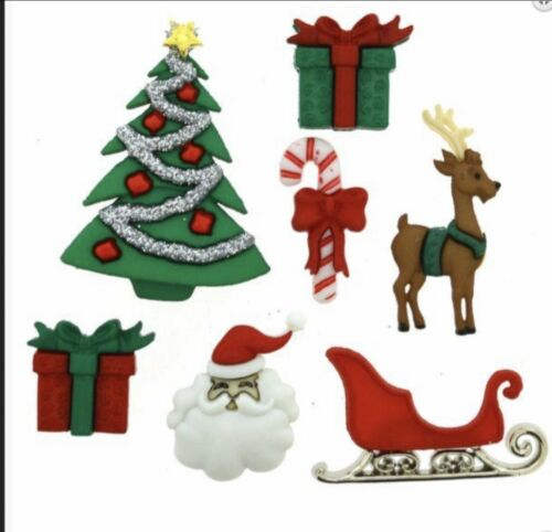 Dress it up Christmas 3D Craft Buttons Various Designs Available