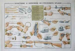 ORIGINAL MILITARY POSTER CLEANING AND OILING FIREARMS STEYR MANNLICHER
