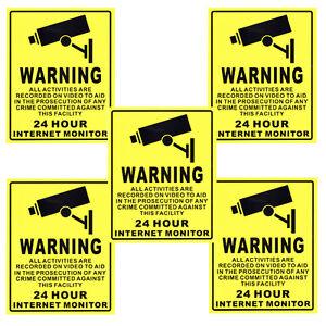 5-X-20cm-X-25cm-Surveillance-Security-Camera-Webcam-Warning-Sign-Sticker-Decal