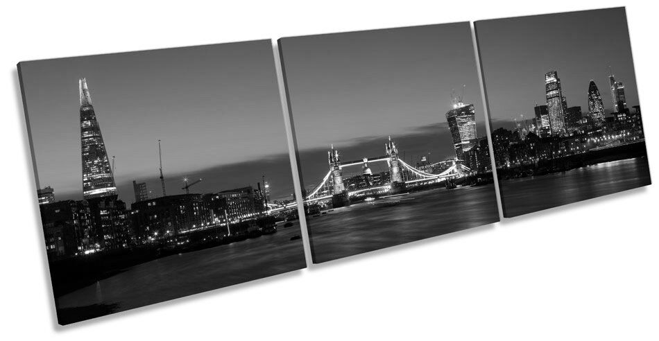 City of London Tower horizonte Bridge horizonte Tower BW TREBLE LONA pared arte impresión del marco de la caja e9b0ce