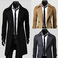Men Double Breasted Overcoat Warm Winter Trench Coat Slim Fit Jackets Parka Tops