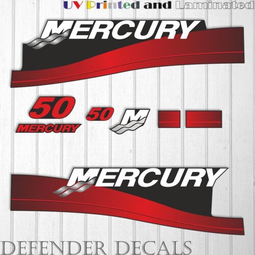 Mercury 50 HP Two Stroke outboard engine decal sticker RED kit reproduction 50HP