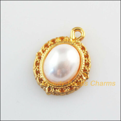 10Pcs Oval Flower White Acrylic Flatback Gold Plated Charms Pendants 13.5x18mm