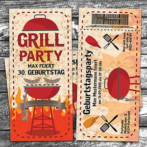 Das Bild Wird Geladen Einladungskarten Grillparty Geburtstag Einladung  Karte Party Garten BBQ