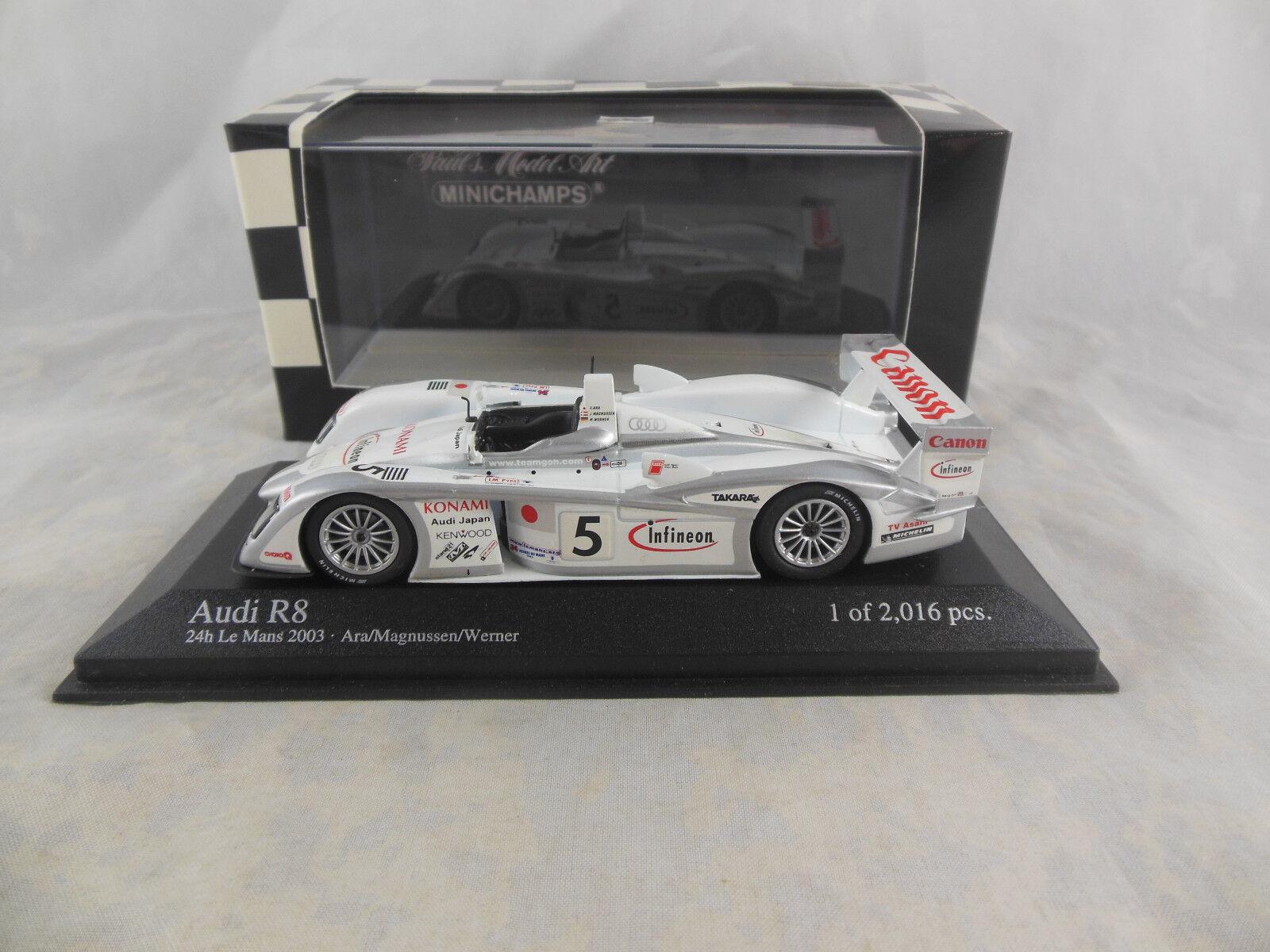 Scarce Minichamps  400 031305 Audi R8 2003 Le Mans 24 Hr RN 5 Ara   Magnussen