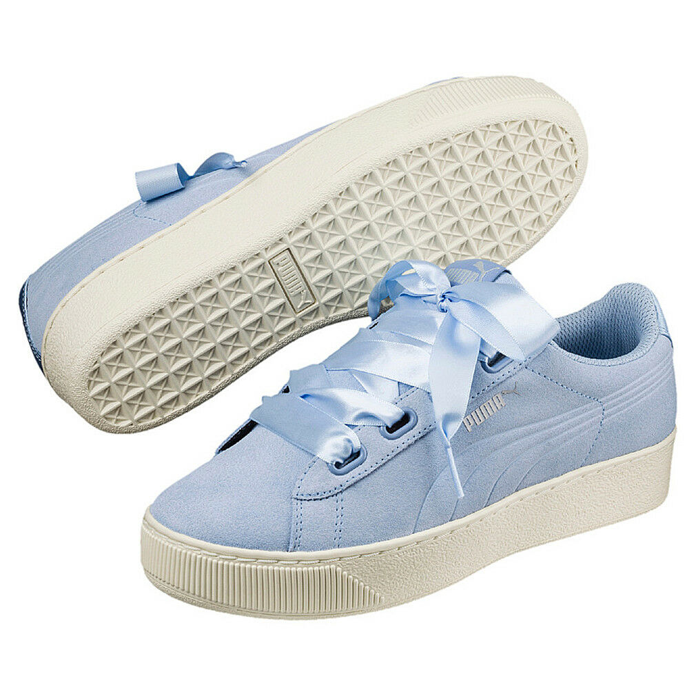 Puma Vikky Platform Ribbon S Leather Sneaker Women's shoes 366418 04 bluee