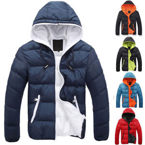46e5f11055da Men s Winter Hooded Thick Jacket Zipper Slim Outwear Coat Warm ...