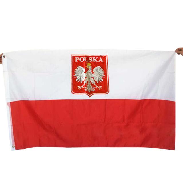 Large 3x5 Ft Poland Eagle Flag Polish State National Flags Banner 90*150 . N6Q0