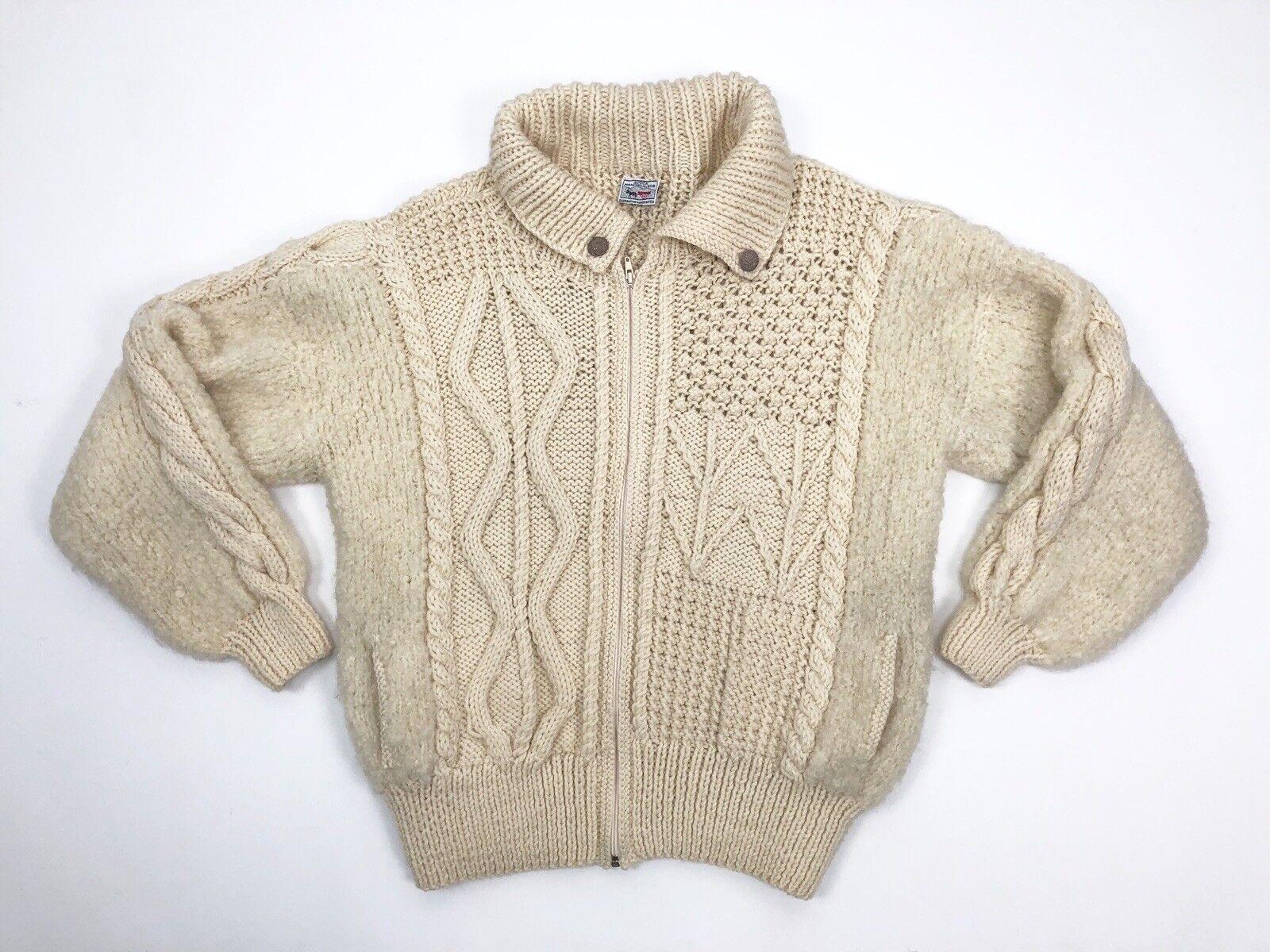 Avoca Ireland Wool Cable Knit Fisherman Full Zip  Sweater Cream Unisex Size M