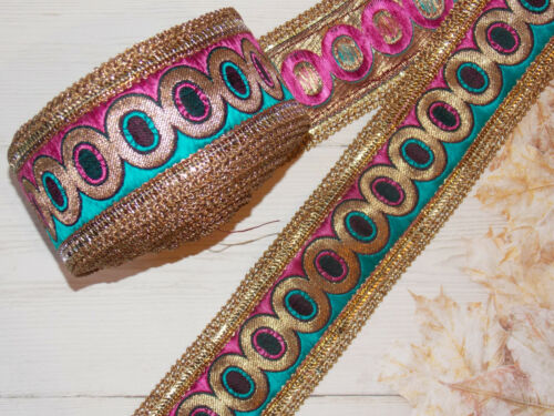 6cm pink wine teal crystal embroidered ribbon BRAID applique trimming xmas