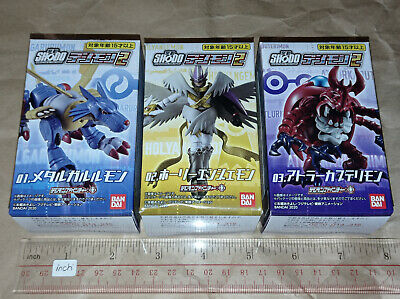 Bandai Digimon Adventure Shodo Vol.2 Set of 2 Metal Garurumon Holy Angelmon