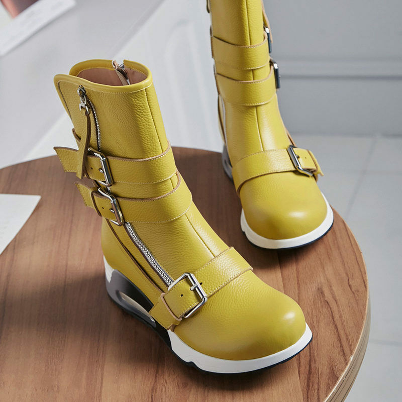 Fashion Women's Military Ankle Boots Motorcycle Combat Sneakers Buckle Strap Sz