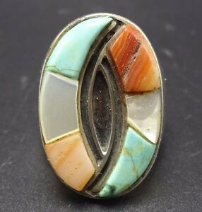 Vintage Sterling Silver Zuni Signed RT Inlay Turquoise Onyx Coral  Spiny Oyster Size 5.75 Ring