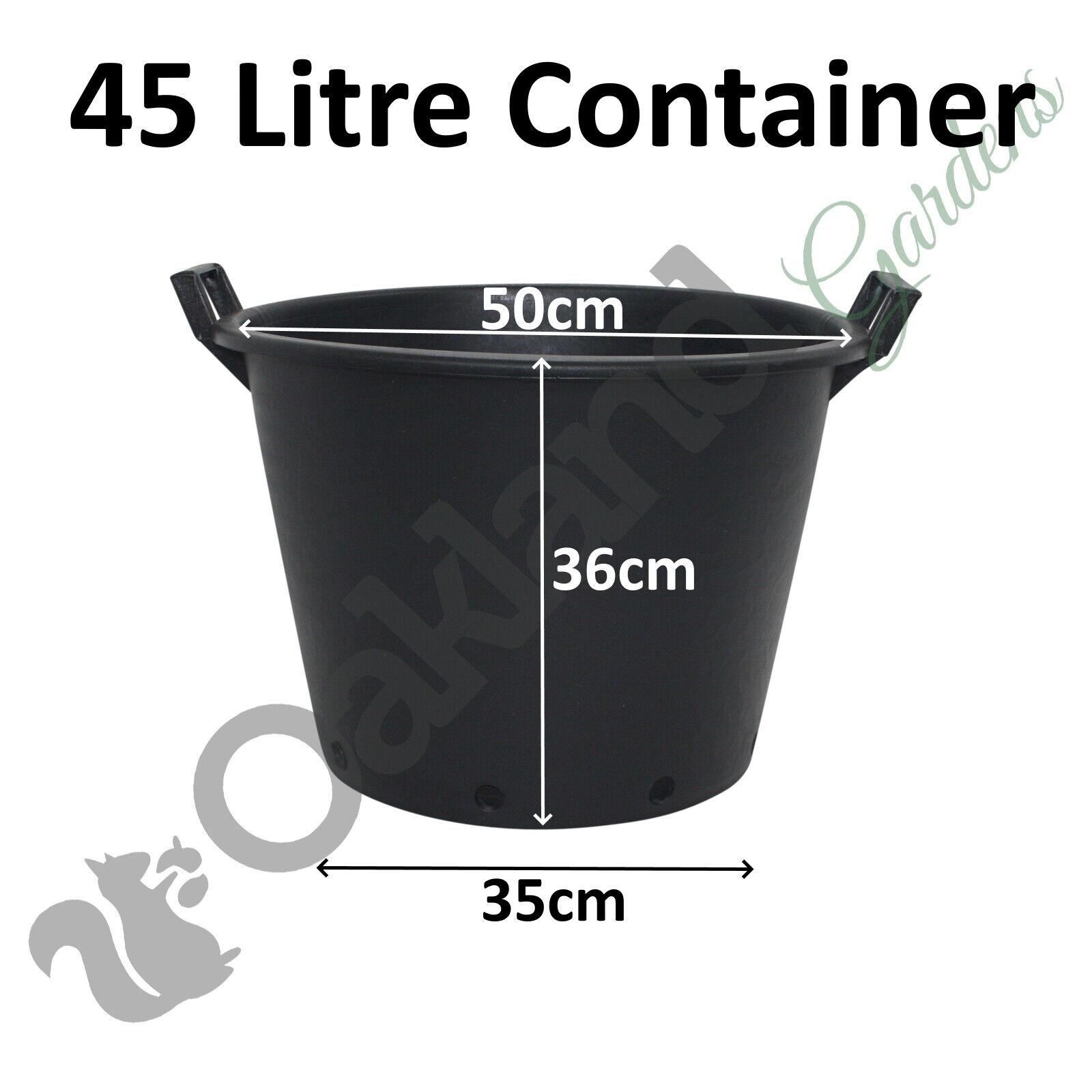 1 x 45 Litre Plant Tree Pot With Handles Heavy Duty 45L Lt Big Large Plastic