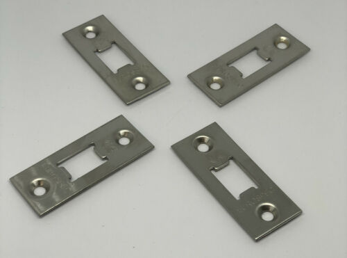 4 PACK DEADBOLT LOCK FACE PLATES SILVER POLISHED STAINLESS STEEL FINISH NEW