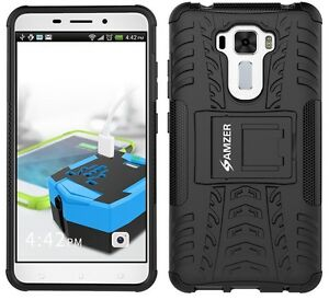 huge discount 4e94f e64f4 Details about AMZER Dual Layer Hybrid Warrior Case + Stand ASUS Zenfone 3  Laser ZC551KL- Black