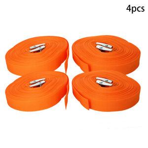4Pcs 5-12m Lashing Strap Tie Down Cargo Lash Strap Cam Buckle Camping Van Black