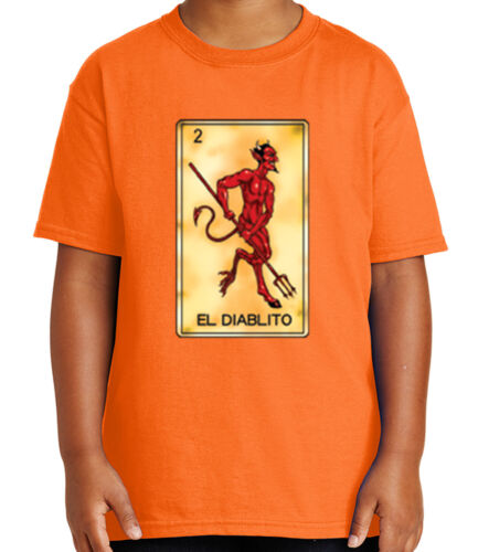 El Diablito Number 2 Kid/'s T-shirt Mexican Chicano Loteria Tee for Youth 1797C