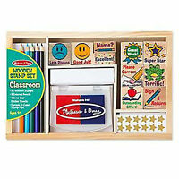 Melissa And Doug Classroom Wooden Stamp Set Toys Kids Arts Crafts