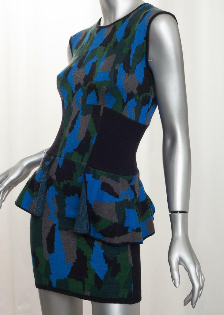 TORN by RONNY KOBO damen Blau+Grün Sleeveless Peplum Bodycon Dress XS NEW