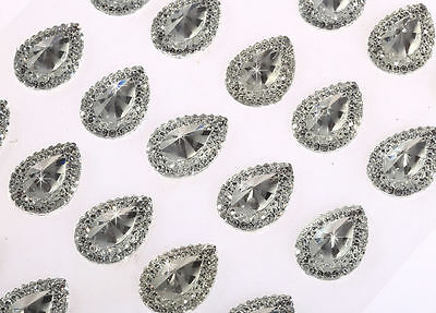 25pcs 13x18mm Self Adhesive Stick on Pointed Resin Teardrop Diamante Gems