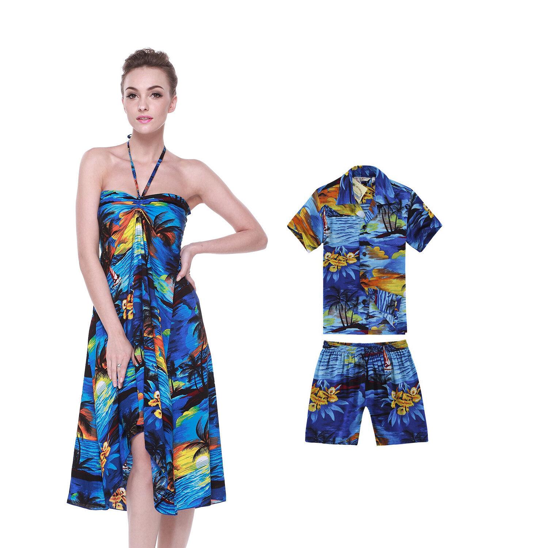Mother Son Matching Hawaiian Luau Party Beach Dance Dress Shirt Sunset Blue