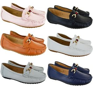 LADIES-WOMENS-FLAT-HEEL-BUCKLE-COMFORT-DESIGNER-LOAFER-WORK-OFFICE-PUMP-SHOES-SZ