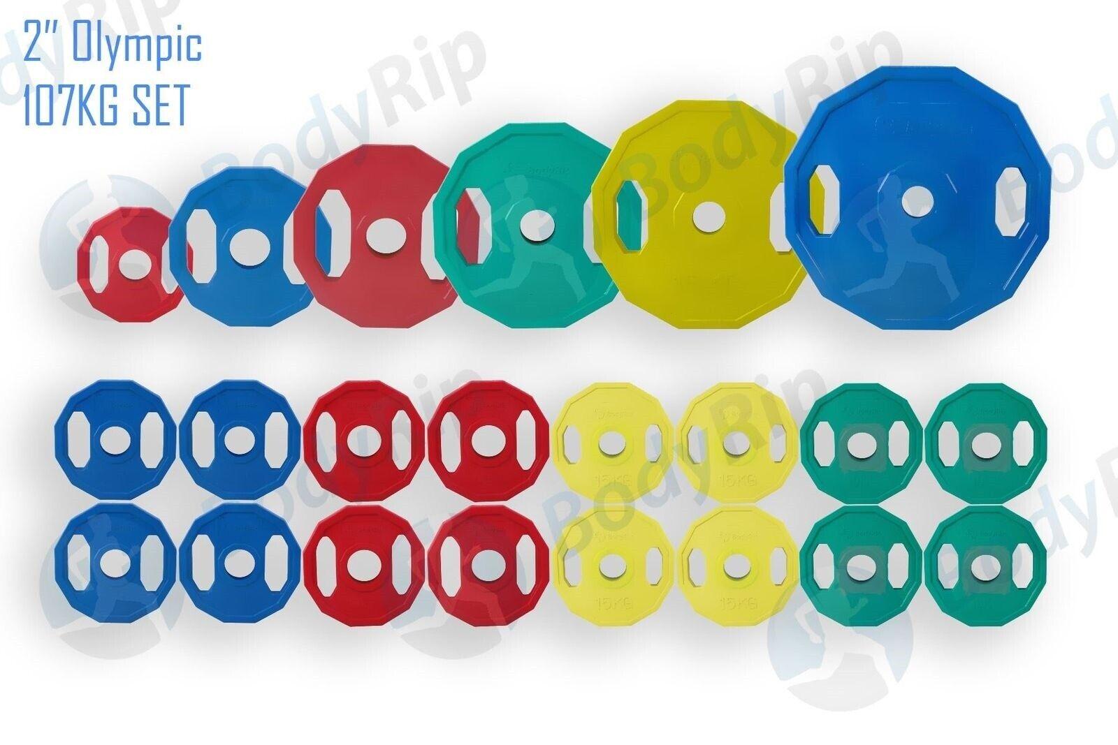 Olimpico Poligonali Peso Piastre Set 107kg │ 2  Disco Palestra Codice Coloreee By