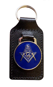Square-amp-Compasses-with-G-Masonic-Black-Leather-Key-Fob