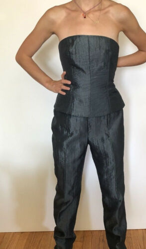 Set Pant New Gray York Sz Zion Blouse 8 Party Bustier Crinkled Metallic Cocktail 0qxUa